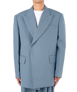 BLUE WOOL EMBOSSED LOGO DOUBLE JACKET