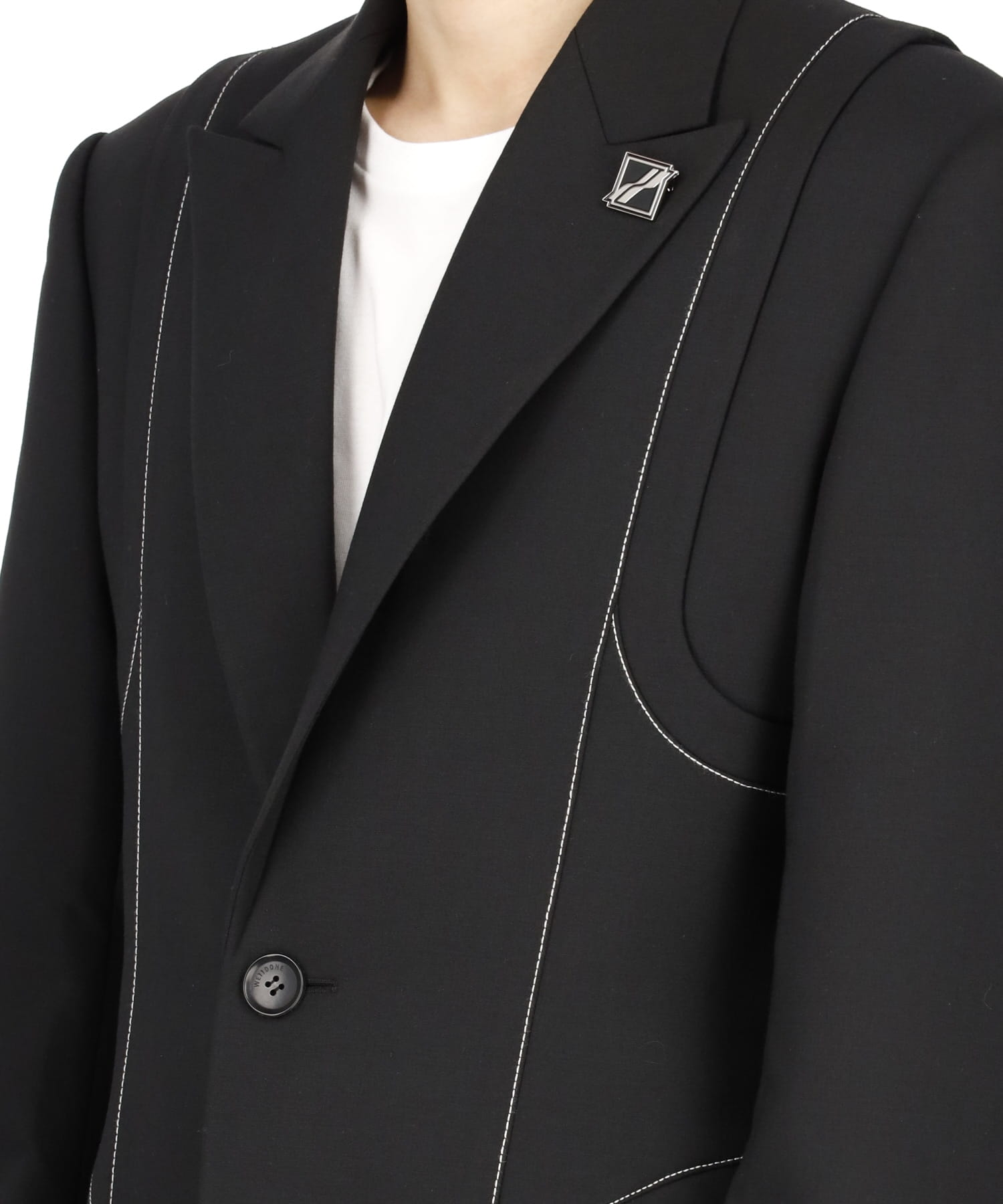 BLACK CONTRAST TOP STITCH TAILORED JACKET