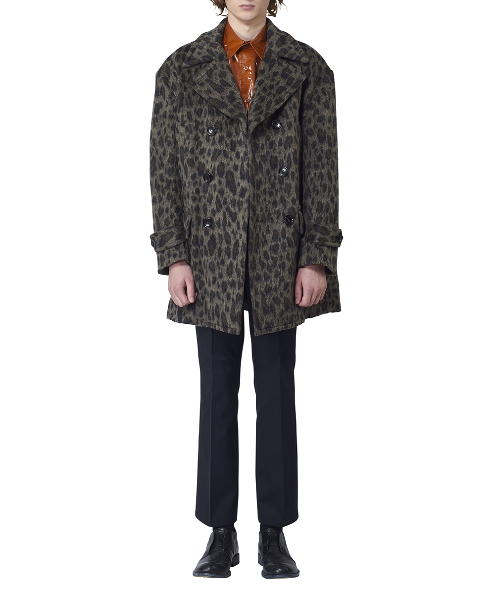 LEOPARD SHAGGY OVERSIZED PEA JACKET
