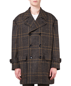 CHECKED TWEED OVERSIZED PEA JACKET