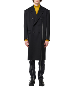WOOL DOUBLE BREASTED ZIPPED COAT