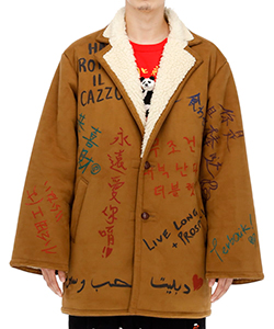 MESSAGE HAND-PAINTED MOUTON COAT