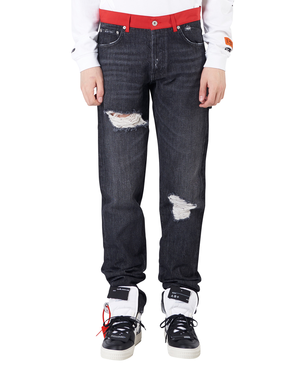 NYLON BELT DENIM WORK PANTS