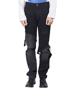 SLIM FIT DESTROYED DENIM PANTS