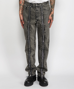BLEACHED DENIM ZIPPED PANTS