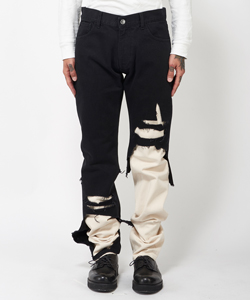 SLIM FIT DOUBLE DESTROYED DENIM PANTS