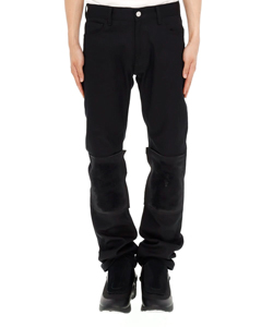 SLIM FIT DENIM PANTS WITH SATIN KNEEPATCHES