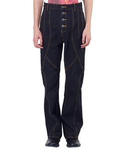 Paneled Bootcut Denim Trousers