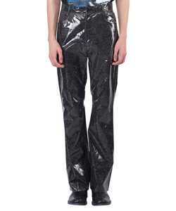 Crack Coating Bootcut Trousers