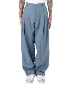 BLUE THREE PIN TUCKED WOOL BAGGY TROUSER