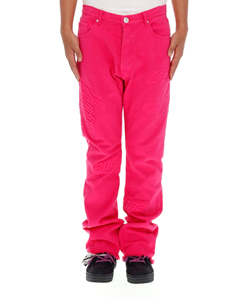 HOT PINK EMBOSSED SEMI-BOOTS CUT TROUSER