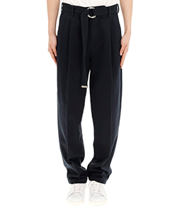 SILK CHINO WIDE TAPERED TROUSERS