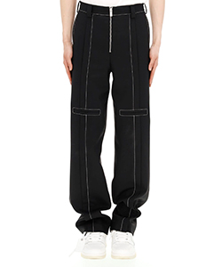BLACK CONTRAST TOP STITCH TAILORED TROUSERS