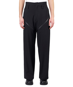 TAPED WOOL ZIP TROUSERS