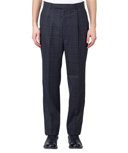 CHECKED WOOL PLEATED TROUSERS
