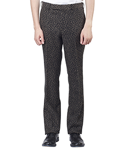 LEOPARD FLANNEL STRAIGHT TROUSERS