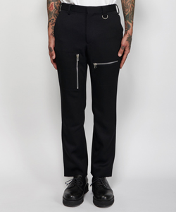 WOOL ZIPPED PANTS