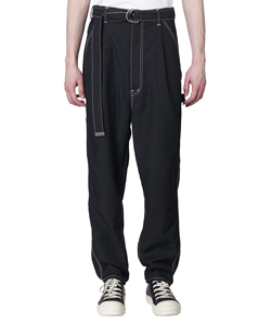 HEAVY TWILL HIGH WAIST WIDE TAPERED TROUSERS