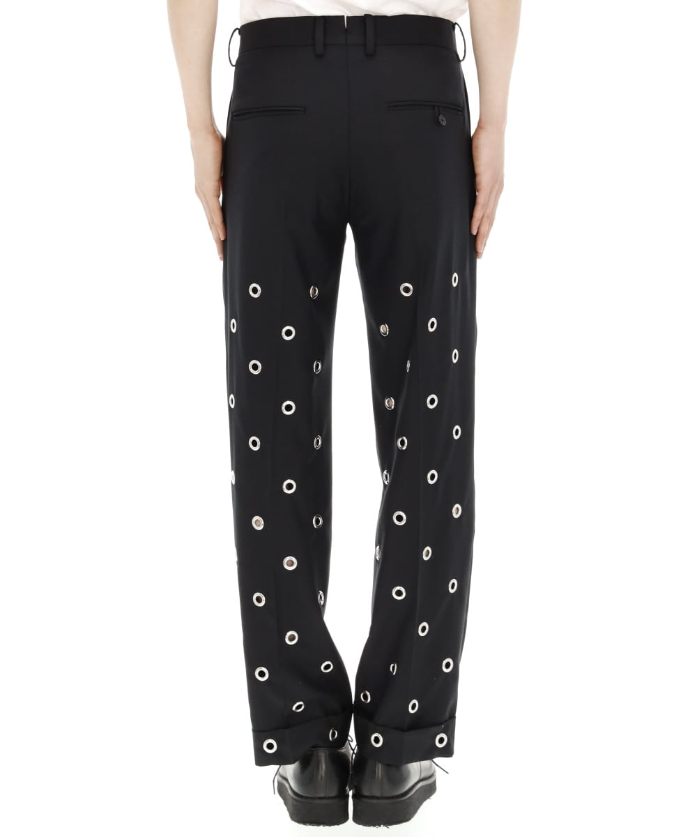 EYELETS RELAXED-FIT SUIT TROUSERS