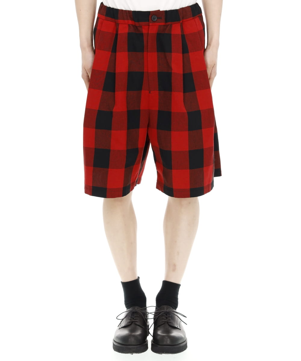BUFFALO CHECK TWILL COTTON 2TUCK WIDE SHORTS