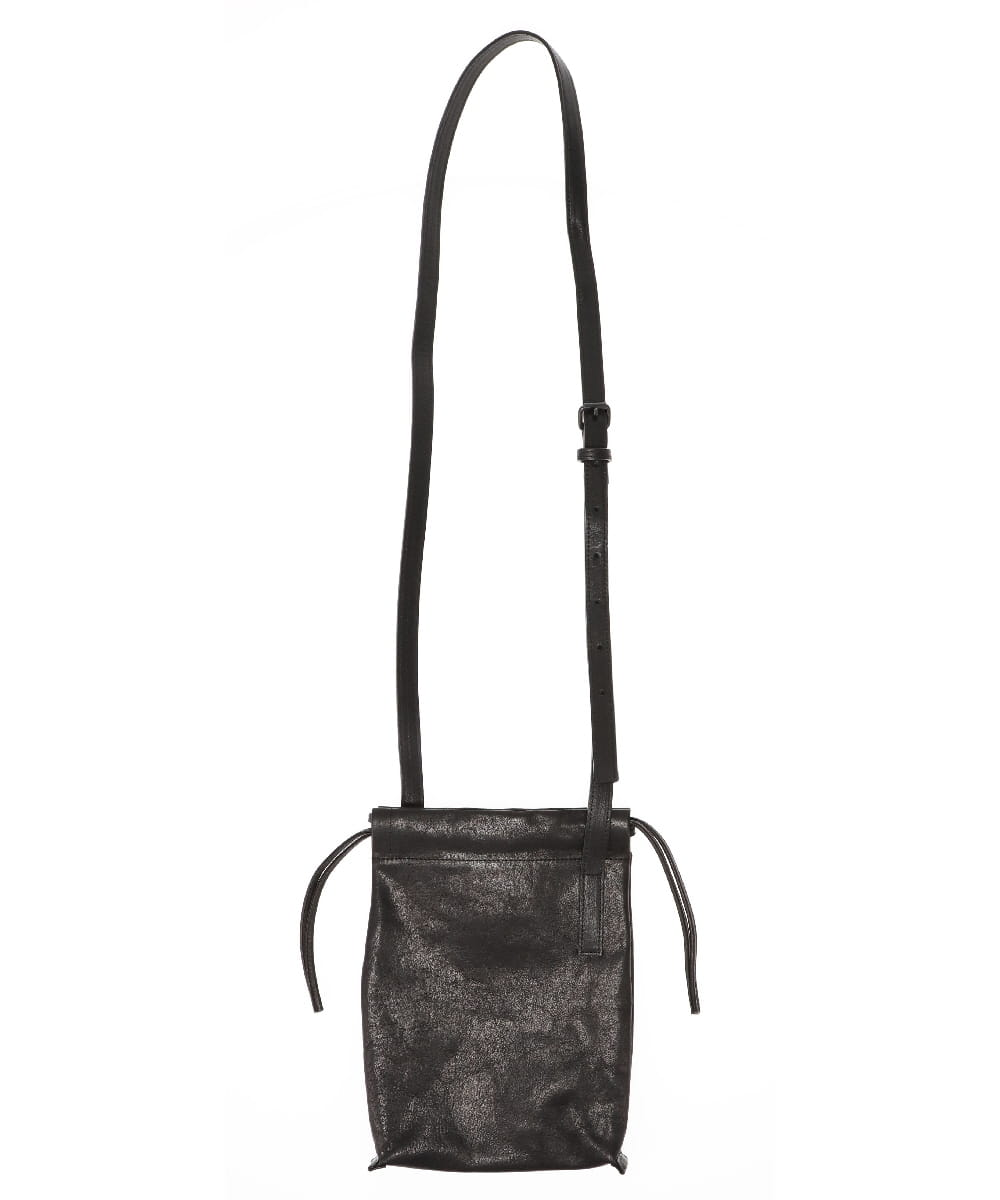 LEATHER CELL PHONE BAG DRAWSTRING
