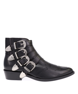 BLACK LEATHER SILVER BUCKLES