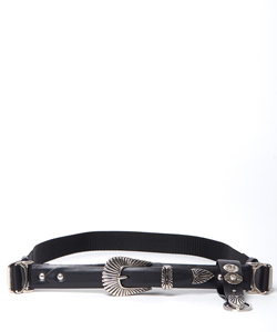 LEATHER NYLON BELT WITH KEY RING