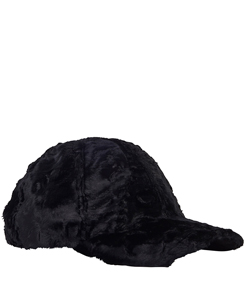 BLACK FAKE FUR CAP