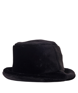 BLACK FAKE FUR BUCKET HAT