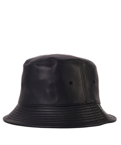 BLACK FAKE LEATHER EMBOSSED LOGO BUCKET HAT