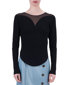 ROUND CURVE RIBBED PULLOVER WITH TULLE