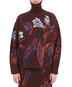 FLORAL DOUBLE JACQUARD HIGH-NECKED SWEATER