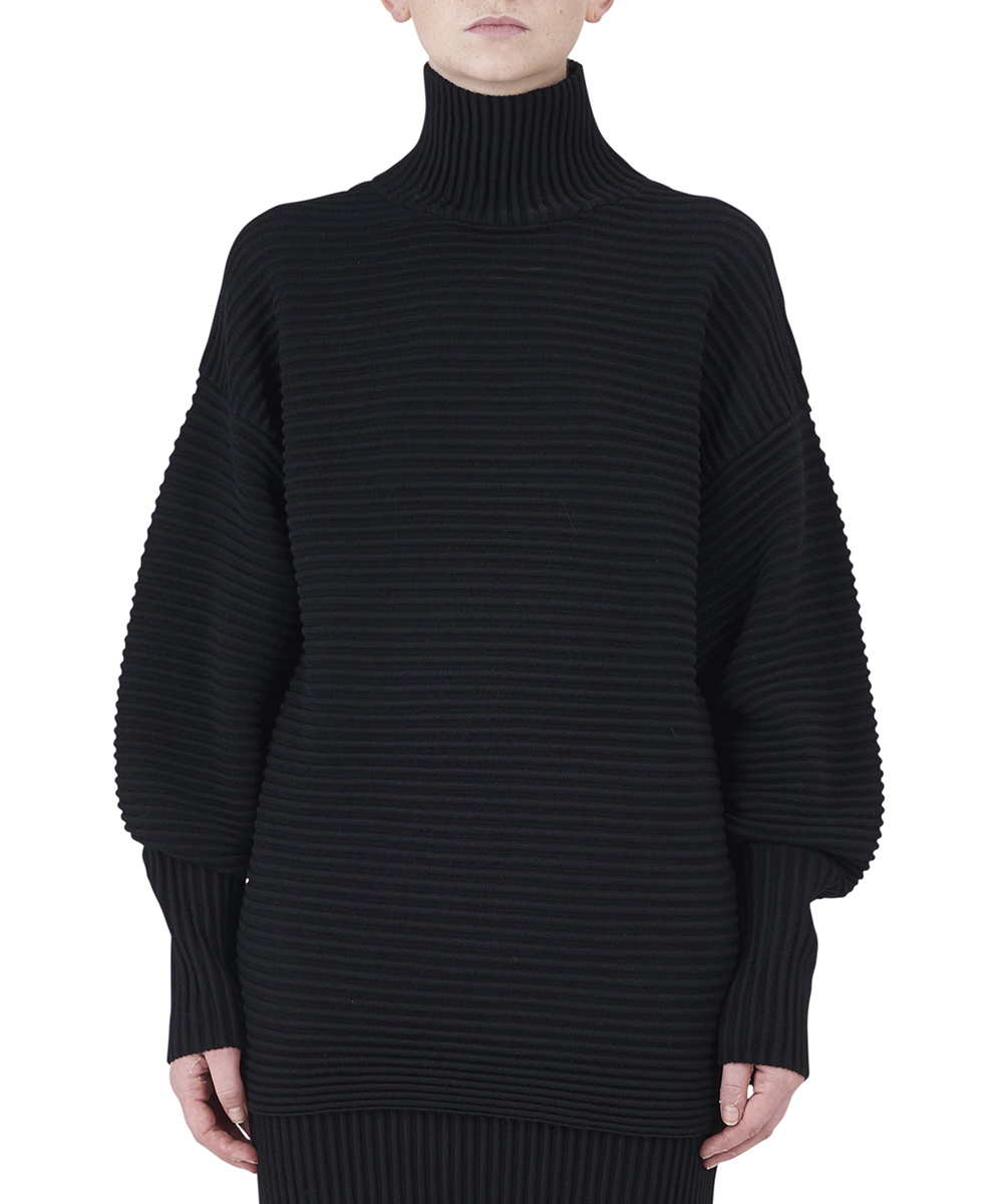 CURVED SLEEVE TURTLE NECK