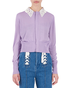 EMBROIDERY SILK COLLAR CARDIGAN