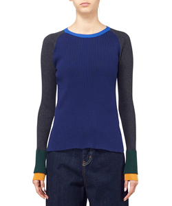 COLOR BLOCK RIB PULLOVER