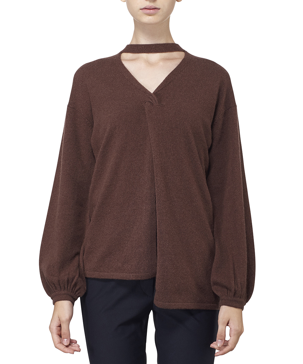 CASHMERE ASYMMETRY KNIT TOPS