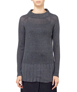 SHINNY RIBBED PULLOVER