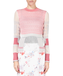 MIXED KNITTED FABRIC PEPLUM PULLOVER
