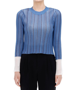 RIBBED KNIT TOP WITH LACED CUFF