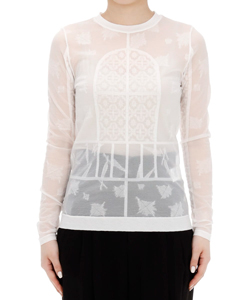 FROSTED GLASS GRAPHIC KNITTED TOP