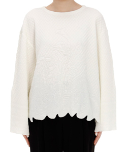 SCALLOP CUT KNITTED PULLOVER