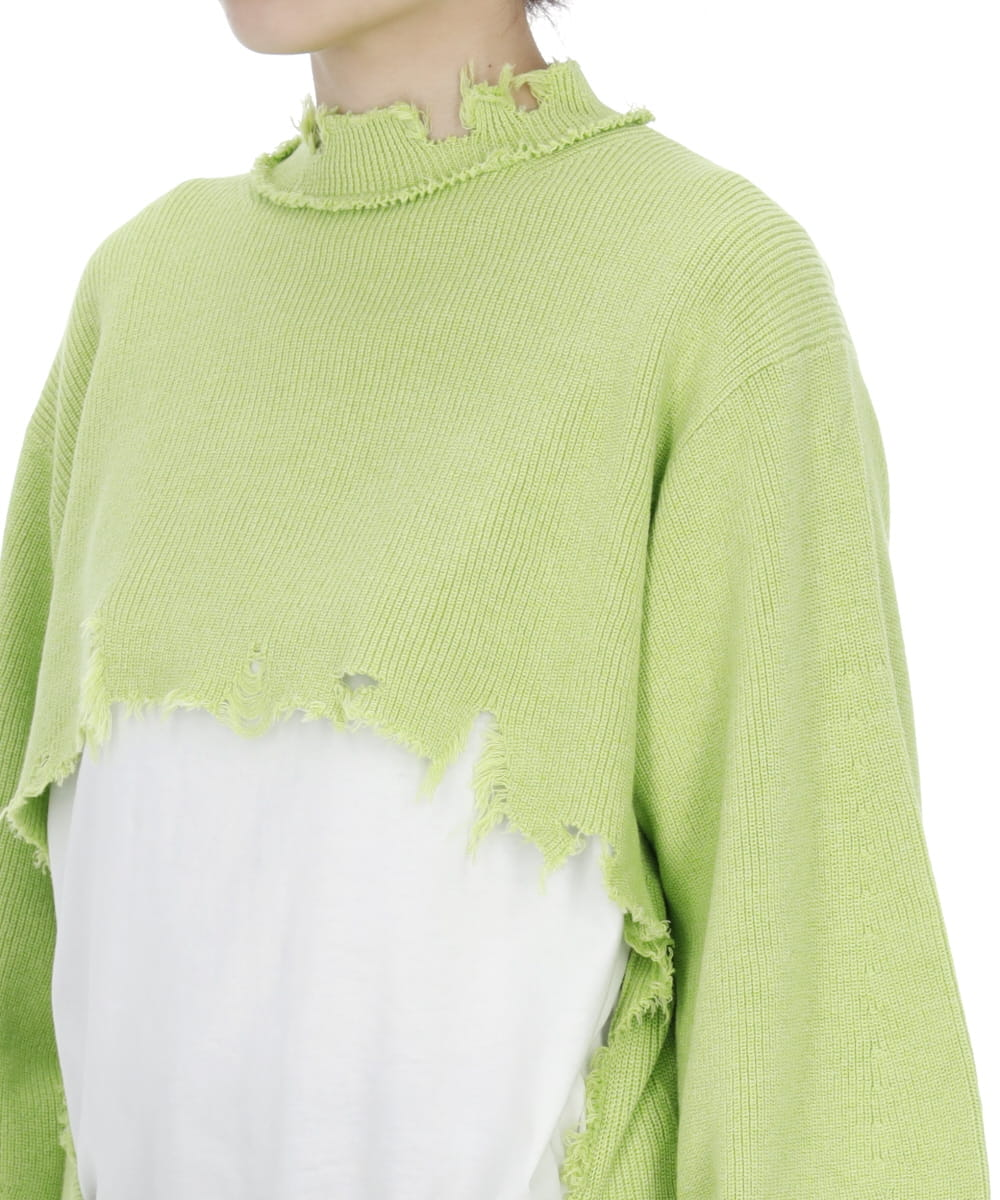 FRAYED KNIT PULLOVER