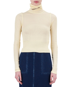 WOOL RIB HIGHT NECK PULLOVER LOGOPRINT
