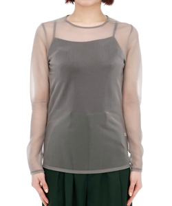 SHEER NYLON JERSEY LONG T-SHIRT