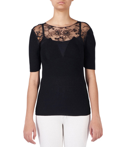 HALF SLEEVE TOP WITH LEAVERS LACE