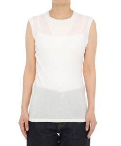 SHEER THERMAL JERSEY SLEEVELESS TOP