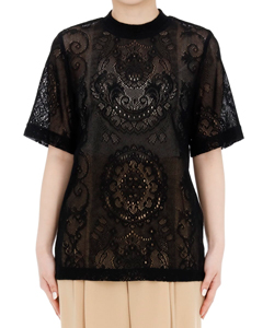 CURTAIN LACE JACQUARD JERSEY TOP