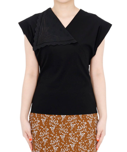 COTTON JERSEY ASYMMETRICAL COLLAR TOP