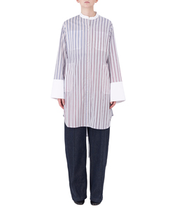 STRIPES LONG SHIRT WITH STAND UP COLLAR