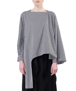 GINGHAM ASYMMETRY SLEEVE PULLOVER